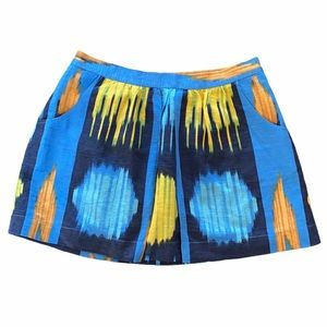 Anthropologie Madewell Eliot Blue Ikat Silk Skirt